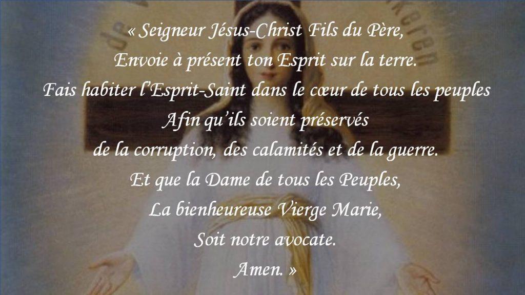 Écoute de la prière de Notre Dame de tous les peuples