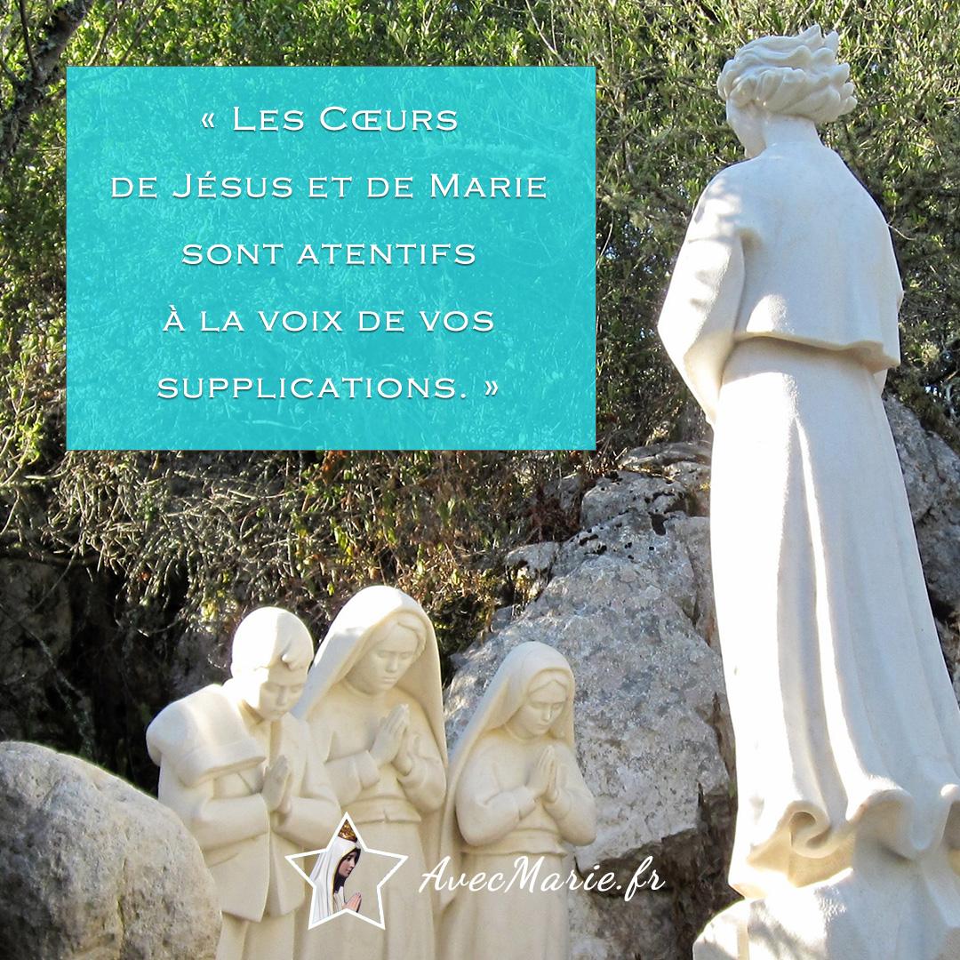 L'Ange de la paix vient nous réconforter : les Cœurs de Jésus et de Marie entendent la prière.